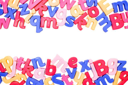 abc's: Alphabet border made up from colourful letters with room for copyspace