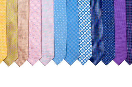 mens: Row of colourful mens ties on white background Stock Photo