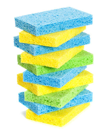 scrubbing up: Stack of washing up sponges on a white background Stock Photo