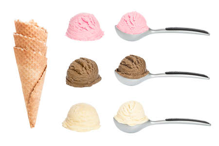 Scoops of ice cream with waffle cones on white background Stock Photo