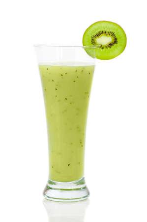 Kiwi smoothie in tall glass on white background Stock Photo - 7641342