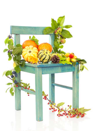 Autumn harvest still life on rustic chair with gourds and fruits