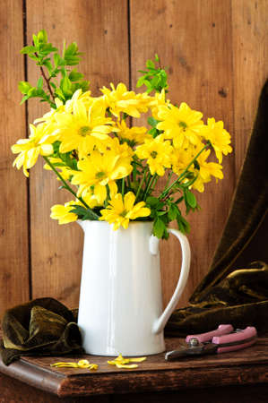 Still life Chrysanthemum yellow flowers in jug vase in rustic setting photo