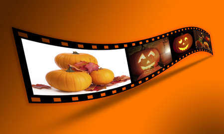 Filmstrip of Halloween related images - clip path included for easy cutout of filmstrip (where supported by agency) photo