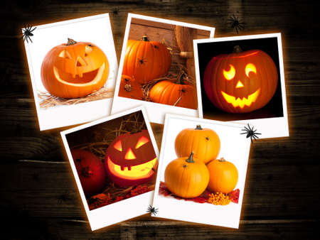 Halloween jack o lantern pumpkin images on a dark wood  background Stock Photo - 7901450