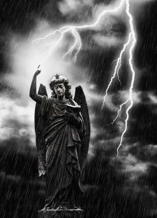 gabriel: Religious concept image, lightning striking a statue of the angel Gabriel