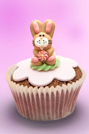 Easter bunny rabbit cupcake on graduated pink background