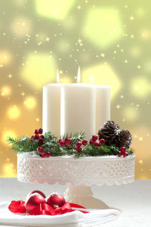 Christmas candle decoration with bokeh background photo