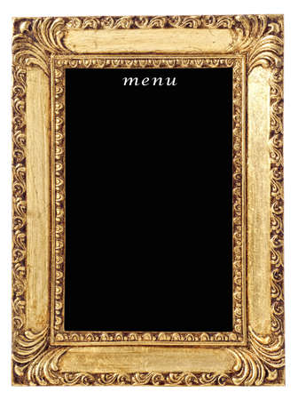 Blank menu board in gilt frame on white background Stock Photo - 9213539
