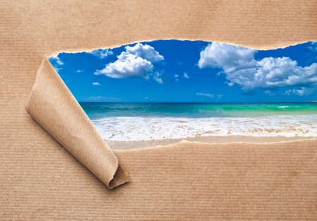 curled edges: Brown package paper torn to reveal summer beach