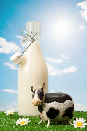 tomando leche: Botella de leche en botella de Swing de alto con la vaca y el campo de margaritas Foto de archivo