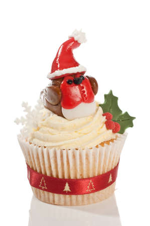 fondant: Christmas cupcake decorated with homemade fondant icing robin wearing a santa hat on white background Stock Photo