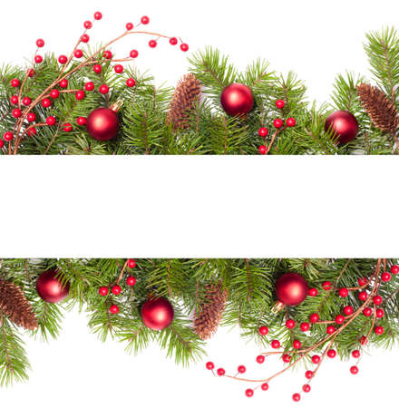 Decorative Christmas banner with pine branches and cones with white copy space