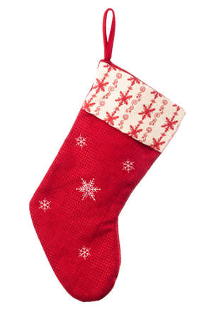 Traditional Christmas stocking on a white background Standard-Bild