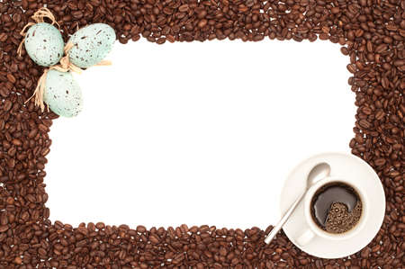 egg cup: Coffee border for Easter with a cup of black coffee and Easter eggs  Stock Photo