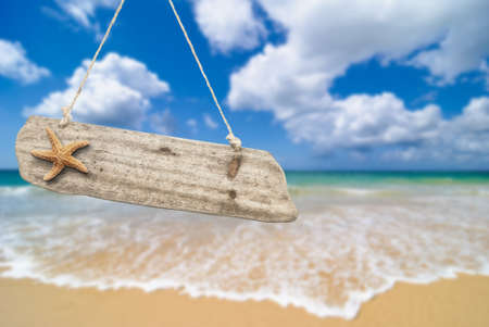 Wooden beach sign with starfish against an idyllic summer beach Stock Photo - 12463874