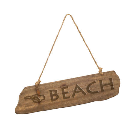 hanging sign: Wooden, beach sign on a white background Stock Photo