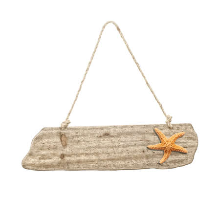 Hanging wooden sign with starfish - beach holiday concept photo