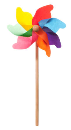 Colourful windmill isolated on a white background photo