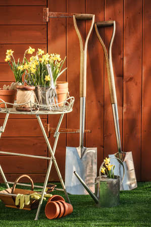 Garden potting shed in afternoon sunlight  photo