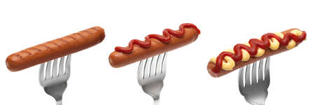 Selection of hot dog sausages on forks isolated on white background Stock Photo - 13087901