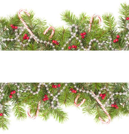 motivos navide�os: Navidad frontera con los bastones de caramelo sobre un fondo blanco