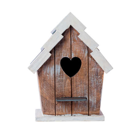 out of the box: Wooden bird house isolated on a white background Stock Photo