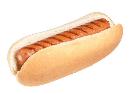 Hotdog in plain bun isolated on white background