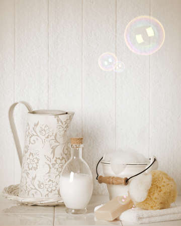 laundered: Bubble bath with soap suds - vintage effect