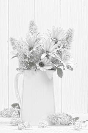 drawing table: Sketched vase of flowers Stock Photo