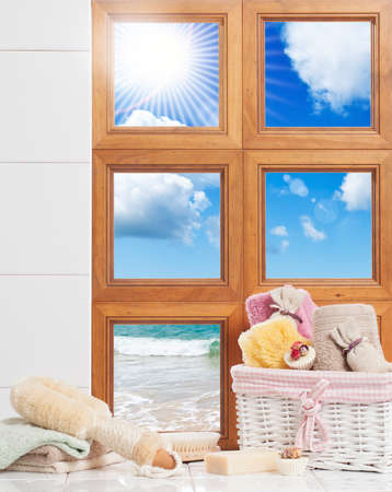 Bathroom window overlooking the ocean photo