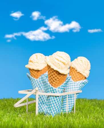 ices: Vanilla ice creams in the grass against a summer sky