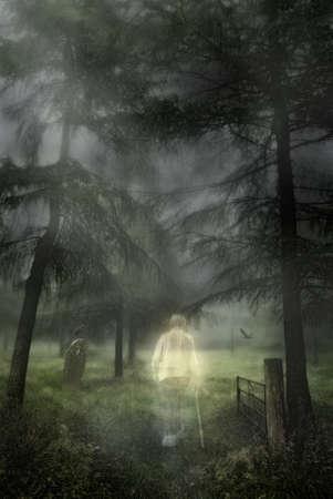Ghostly figure of an elderly gentleman walking into a woodland graveyard
