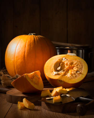 Preparing pumpkin soup for Halloween night - low key effect