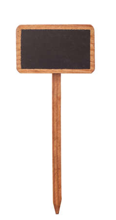wood stick: Wooden information label on white background