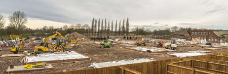 property development: New houses under construction - panorama
