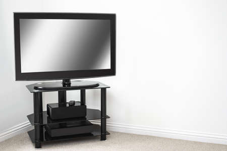 Home entertainment system with blank screen in new property Stock Photo - 18571581