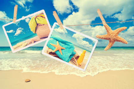 holiday summer: Summer holiday items against a beach scene with vintage effect Stock Photo