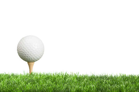 Golf ball on tee with white background for copy space photo