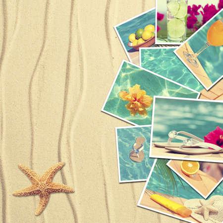 verano: Tarjetas postales de vacaciones en el fondo de arena con estrellas de mar