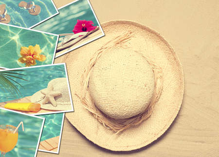 Summer postcards with straw hat on sand background photo