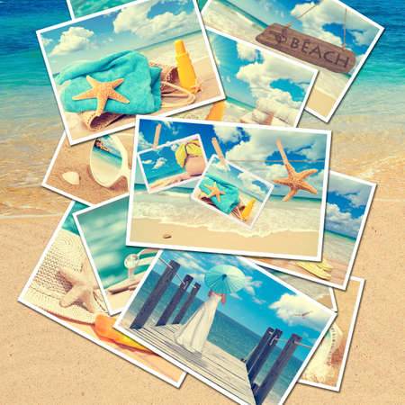 Collection of summer postcards against a beach background photo
