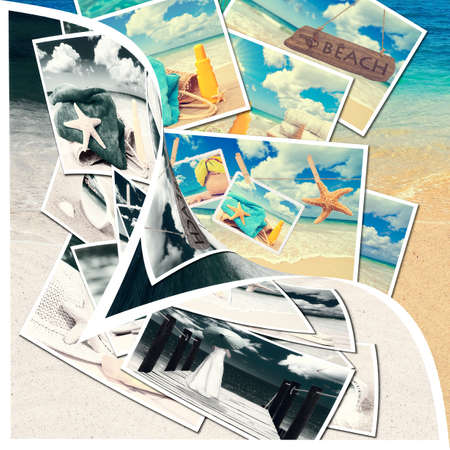 Summer postcards with ocean background revealed by page curl photo