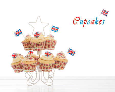 Union Jack cupcakes with flags on a white background photo
