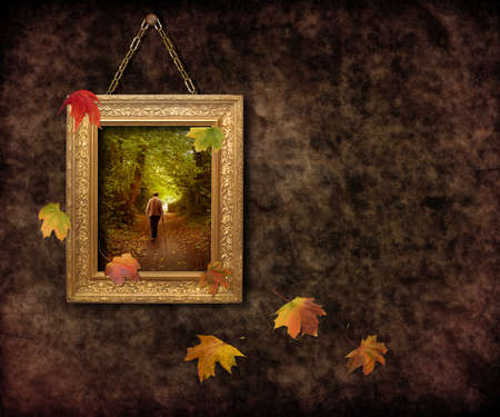 Autumn frame with falling leaves photo