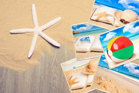 Holiday postcards in the sand with starfish photo