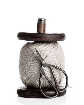 antique scissors: Garden string on holder with scissors