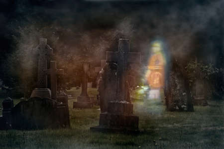 cemetry: Ghost of young girl walking through cemetery at night Stock Photo