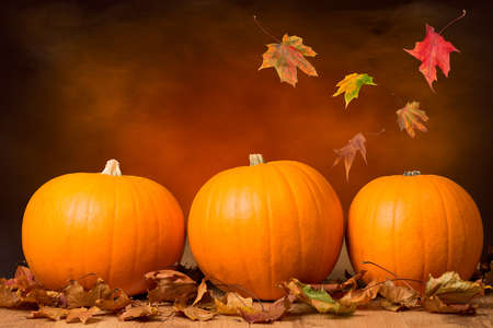 Three pumpkins with fall leaves with seasonal background photo