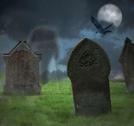 cemetry: Ghost of gentleman walks through cemetery at Halloween